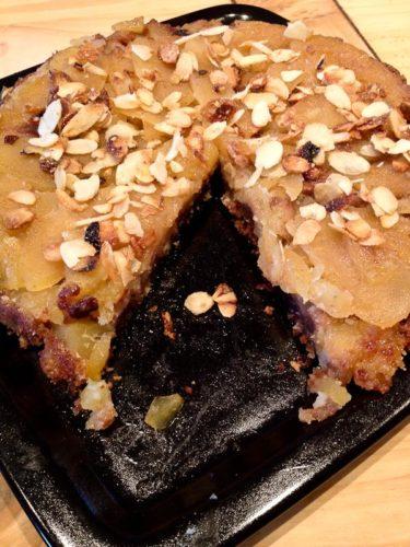 Tarte tatin aux pommes avec du gâteau marbré