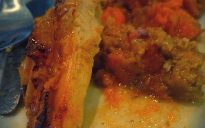 Poulet farci aux abricots et pistaches, avec ses patates douces, cuisson en Sac cuisson 2 en 1 Albal