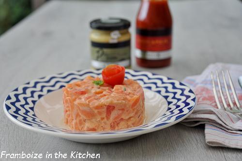 Tartare de saumon, moutarde au pesto Clovis