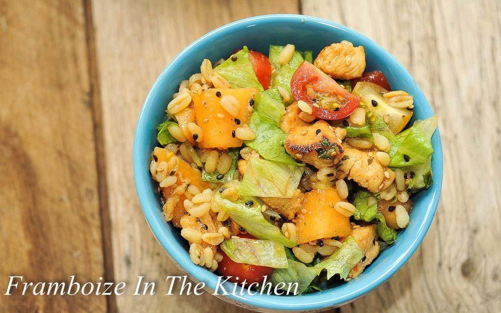 Salade au poulet mariné et melon