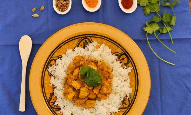 Poulet au curry et riz basmati