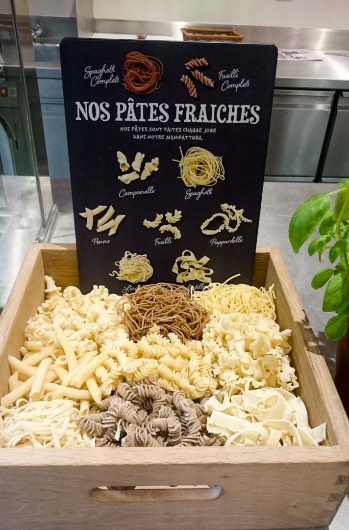 différentes sortes de pâtes du Vapiano