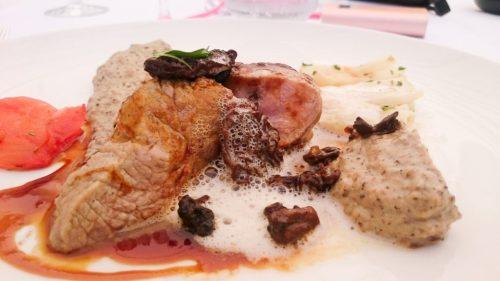 Veau aux morilles, céleri et jus de ratatouille réduit