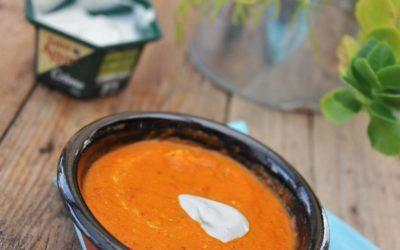 Soupe poivrons rouge et Saint Agur