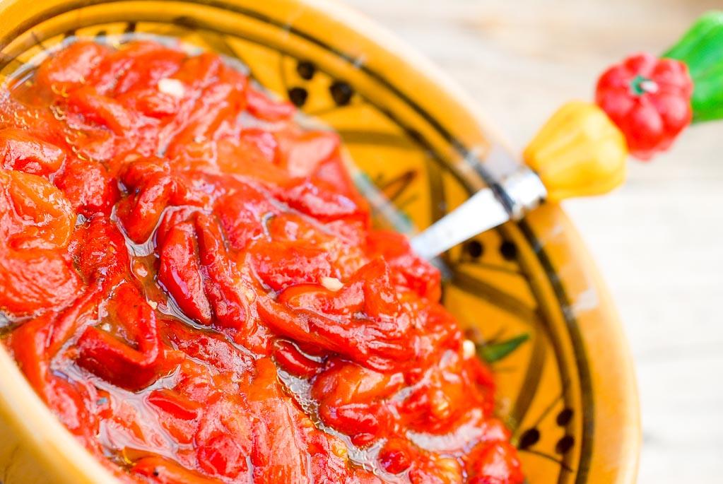 Salade de poivrons grillés pour Chilé con carne