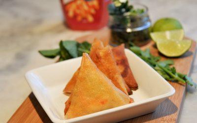 Samosas crevette, menthe et fromage de chèvre frais