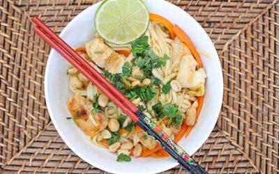 Pad thaï au poulet et gingembre