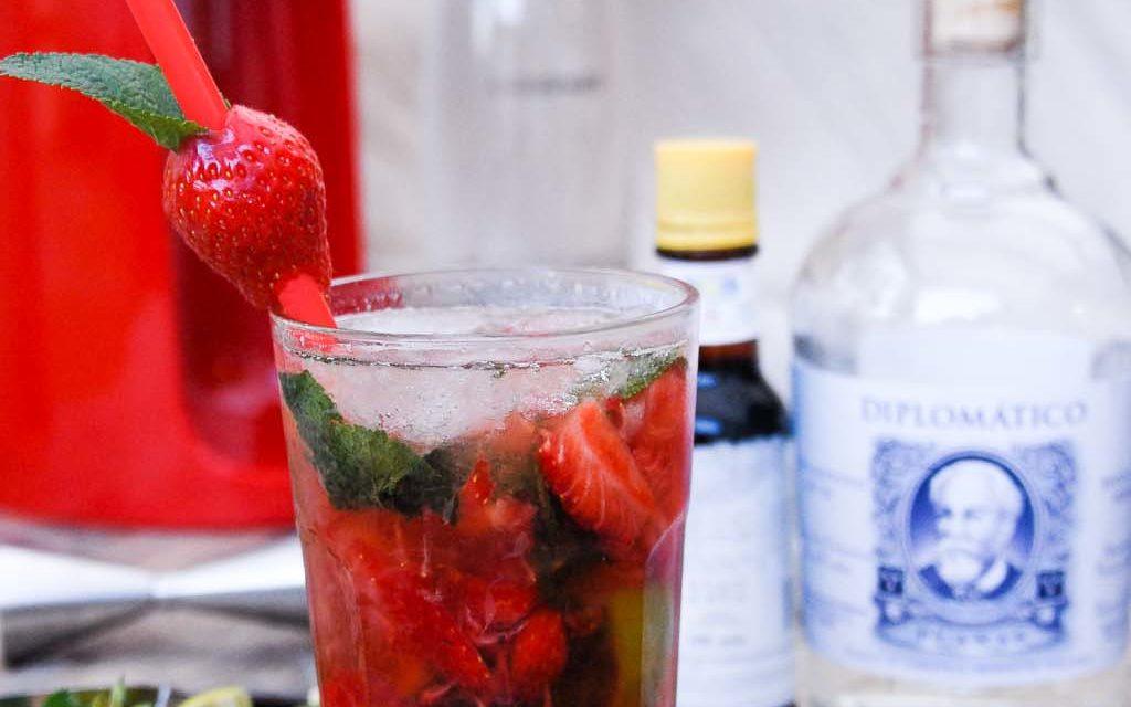 Mojito fraise, Rhum Diplomatico Planas et eau gazeuse Sodastream