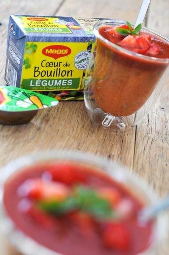 soupe froide de tomates et fraises au vinaigre balsamique
