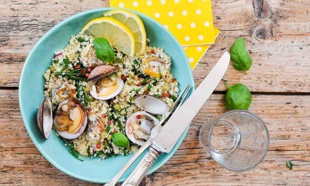 Salade de semoule iodé aux coques et salicornes