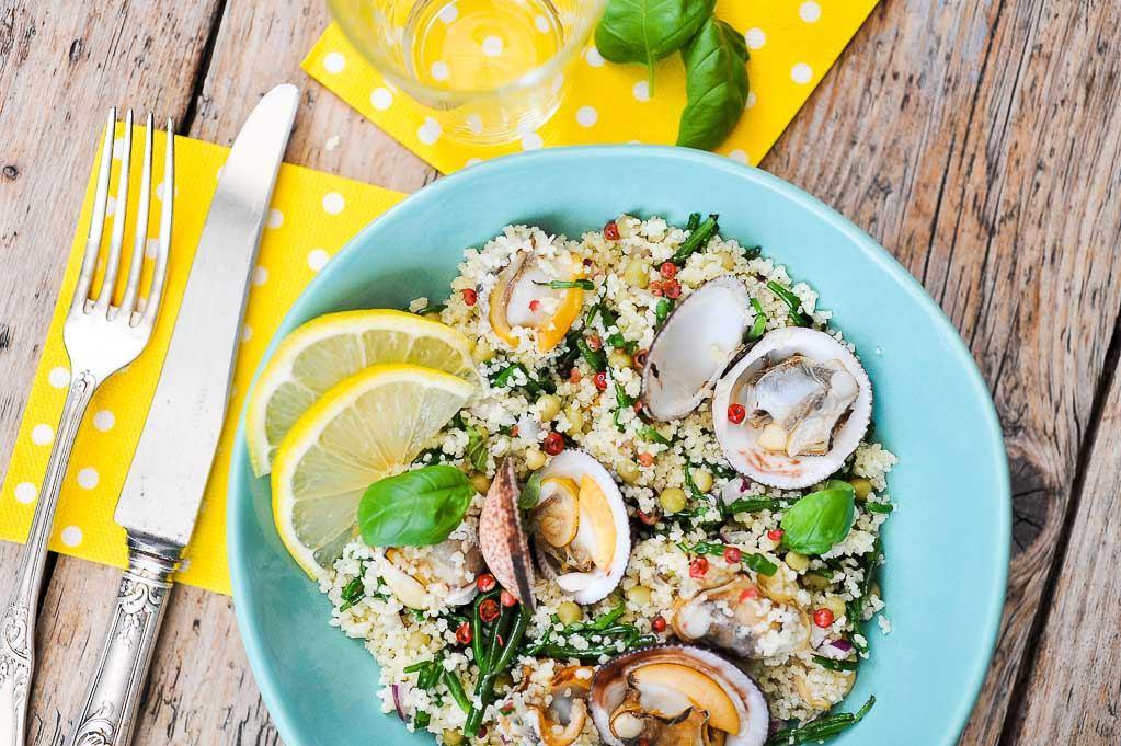 Salade de semoule iod aux coques et salicornes - Cuisiner les salicornes ...