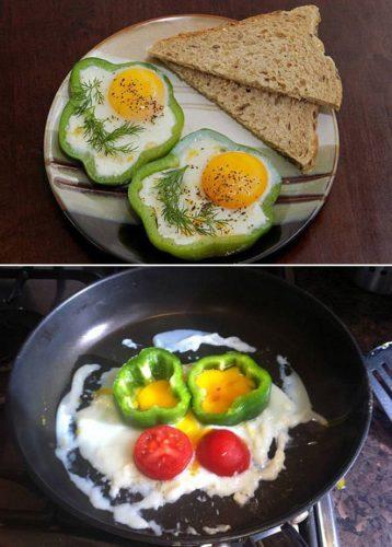 oeuf cuit dans des poivrons, ratés