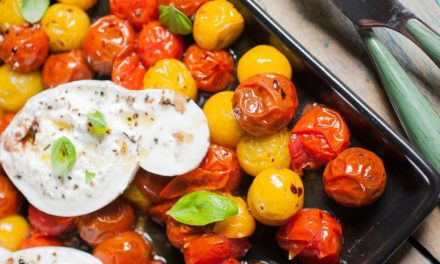 Roasted tomatoes and burrata di bufala