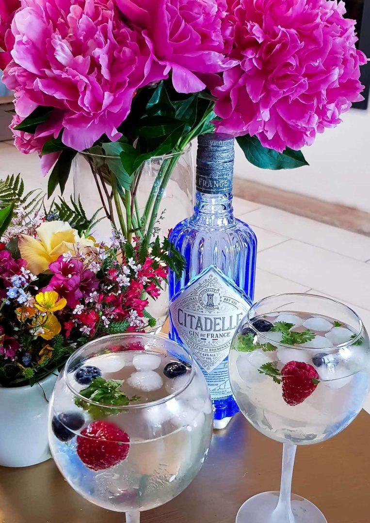 Gin tonic et sirop de fleurs de sureau