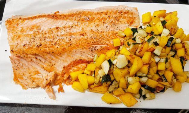 Plancha : Saumon, mangue et courgettes