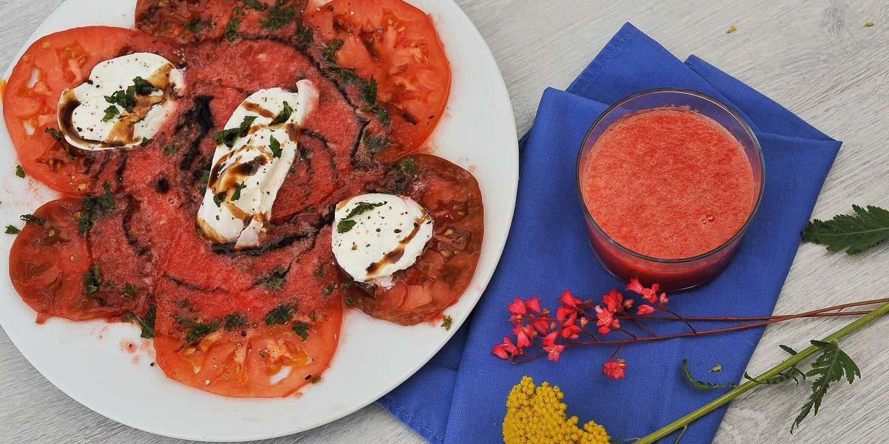 Carpaccio de tomates, smoothie de pastèque et mozzarella Casa Azzurra
