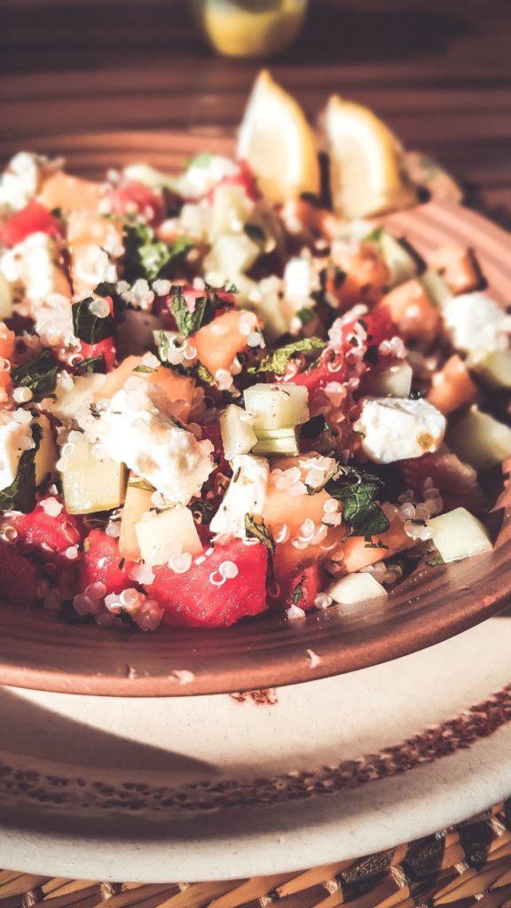 délicieux taboulé au melon et pastèque