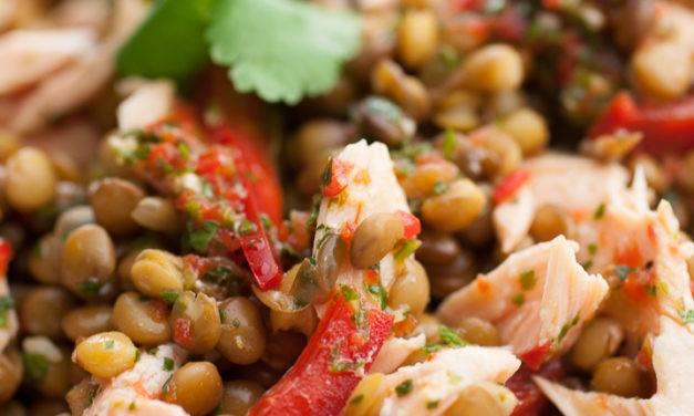 Salade de lentilles et saumon