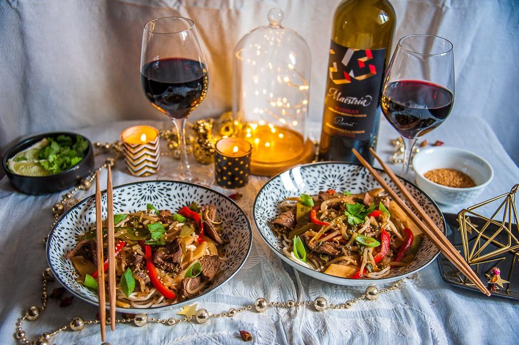 Mon wok de boeuf asiatique avec parfait accord madiran Plaimont