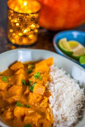 Délicieux Curry de potiron au lait de coco