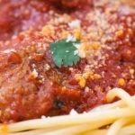 Boulette agneau sauce tomate et spaghetti