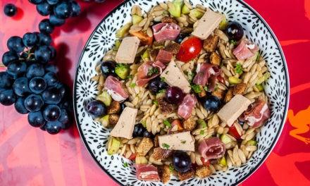 Salade de pâte, de foie gras et de raisin muscat AOP du Mont Ventoux