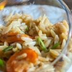 Pastasotto langues d'oiseaux au Cookéo aux crevettes et poireaux