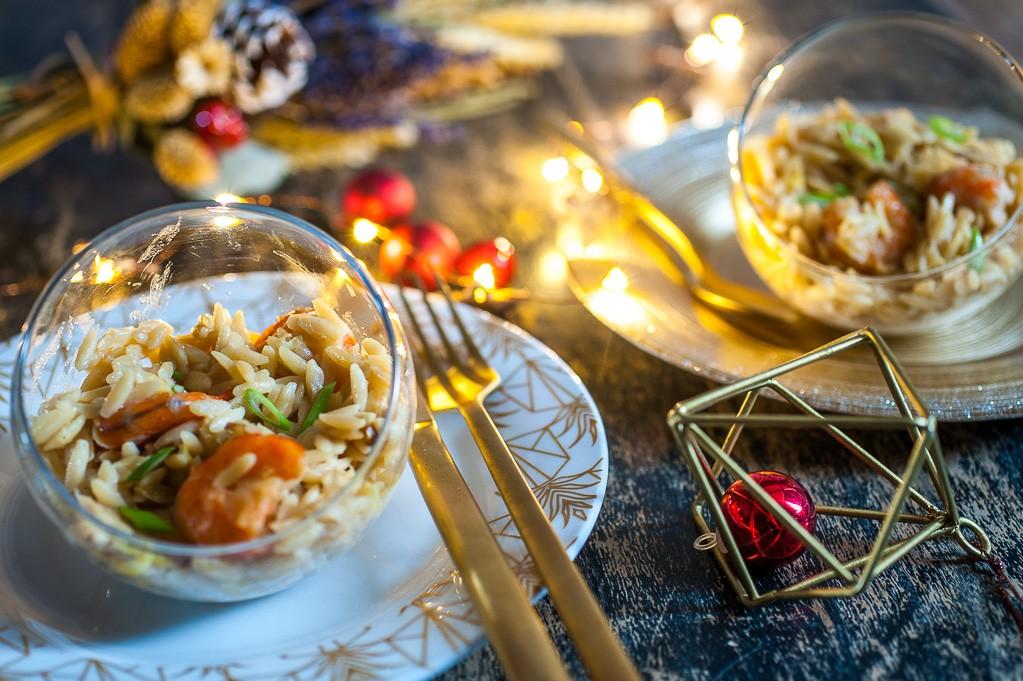 Pastasotto de langues d'oiseaux au cookéo aux crevettes et poireaux pour foodle