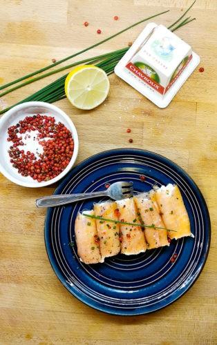 roulés de saumon fumé et fromage frais chavroux