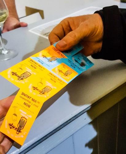 Tickets de boissons de la percée du vin jaune