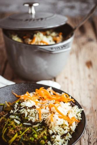 Boeuf haché aux courgettes et petits pois cuit façon thai avec mini cocotte Staub