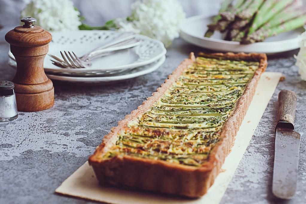 recette de ma délicieuse tarte allégée aux asperges vertes-