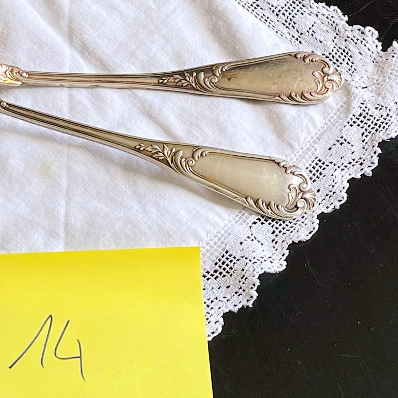 Fourchette et cuillère en argent jolies déco